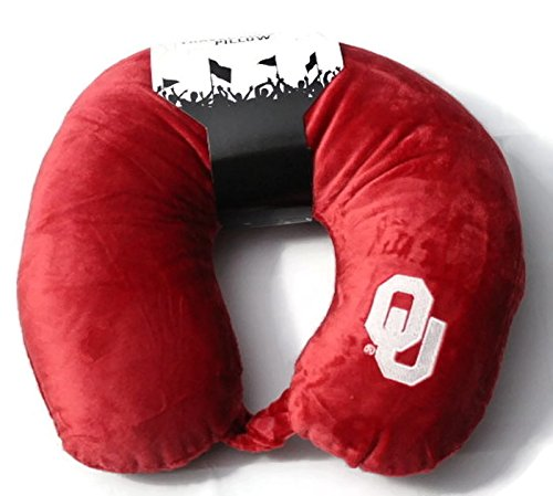 The Northwest Company Officially Licensed NCAA Oklahoma Sooners Applique Travel Neck Pillow for Airplanes, Camping, Travel and Home Use, Red, One Size