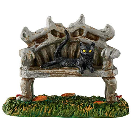 Village 56 Halloween (Department 56 Halloween Accessories for Village Collections Black Cat Bench Figurine, 2.88 Inch,)