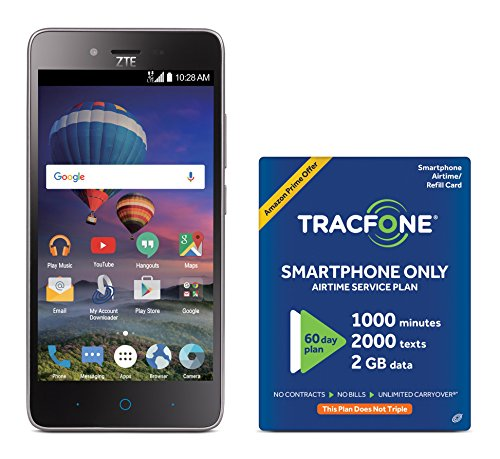 TracFone ZTE ZFIVE L 4G LTE Prepaid Smartphone with Amazon Exclusive Free $40 Airtime Bundle