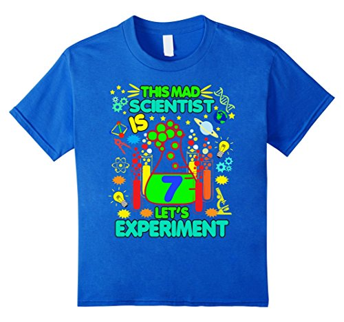 Kids Birthday Shirt Age 7 Seven Boys Girls Science Theme Party 8 Royal (Party Favor T-shirt)