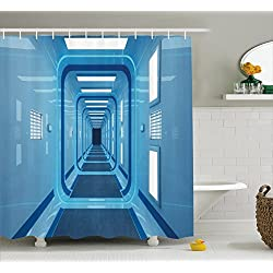 Ambesonne Outer Space Decor Shower Curtain by, Square Shaped Trippy Gate in Space Shuttle Exit and Enter Destination, Fabric Bathroom Decor Set with Hooks, 75 Inches Long, Light Blue