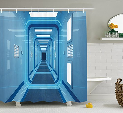 Outer Space Decor Shower Curtain by Ambesonne, Square Shaped Trippy Gate in Space Shuttle Exit and Enter Destination, Fabric Bathroom Decor Set with Hooks, 70 Inches, Light Blue