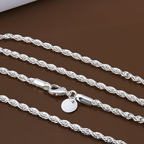 inch 16 Zhiwen Fashion 925 Sterling Silver 3MM Distort Rope Chain Snake Thin Chain Necklace Chain for Women Men (16-24 in)