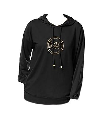 Michael Kors Embellished Gold MK Logo Hoodie Black (L)