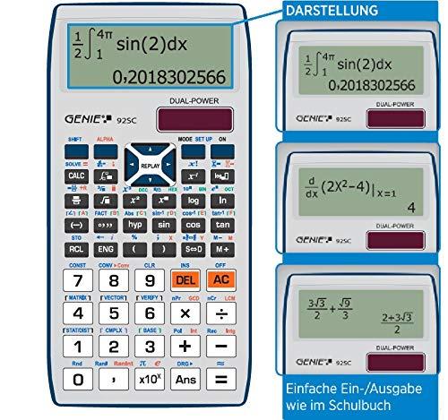 Genie 92SC wissenschaftlicher Taschenrechner//Schulrechner mit 580 Funktionen schwarz 10-stelligem//2 Zeiligem Display und Ein-//Ausgabe wie im Schulbuch Solar//Batterie Dual-Power