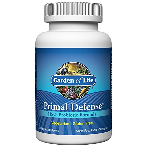 Garden of Life Whole Food Probiotic Supplement – Primal Defense HSO Probiotic Dietary Supplement for Digestive and Gut Health, 90 Vegetarian Caplets