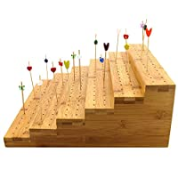 BambooMN Bamboo Skewer Holder Food Display Stand Angle Cut Tube Skewers Stand - Varies Options