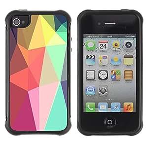 Híbridos estuche rígido plástico de protección con soporte para el Apple iPhone 4 / 4S - shapes lollipop android purple