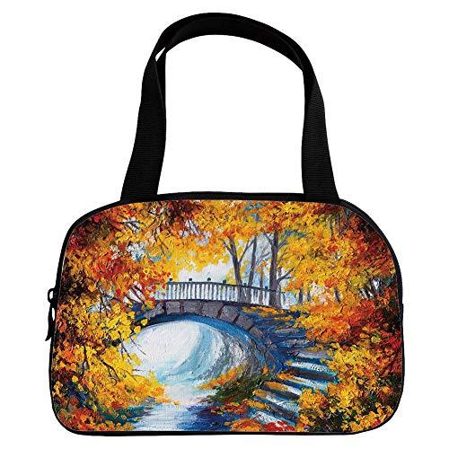 Polychromatic Optional Small Handbag Pink,Art,Autumn Forest with A Bridge Over Road Dramatic Season Shady Leaves Print Decorative,Marigold Vermilion Blue,for Girls,Print Design.6.3