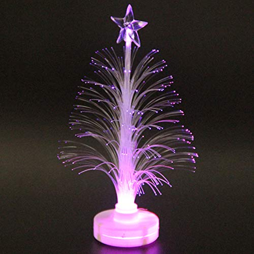 Lamoreco Colored Fiber Optic LED Light-up Mini Christmas Tree with Top Star Battery Powered