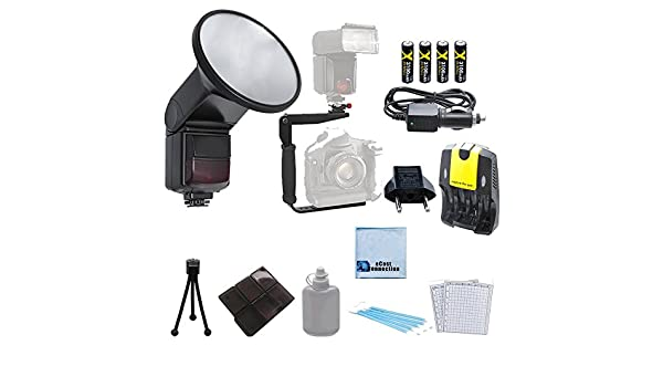10D T4i 4 Rechargeable AA Batteries T2i T5i SL1 20D with a Complete Starter Kit 6D 7D Home//Car Charger for Canon T1i T3 T5 Professional SLR TTL Flash