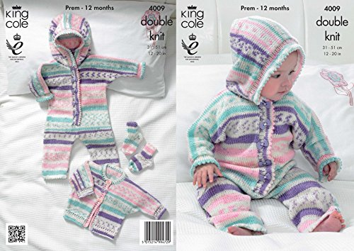 King Cole Baby All in One, Jacket & Socks Cherish Knitting Pattern 4009 DK