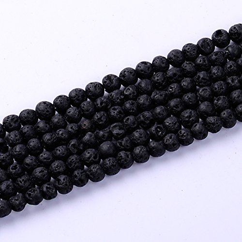 Natural Stone Lava Beads Loose Beads Volcanic Lava Beads Black 4MM, 6MM, 8MM, 10MM, 12MM, 14MM By Ruilong (4mm)