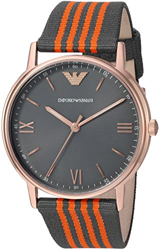 Emporio-Armani-Mens-Kappa-Quartz-Stainless-Steel-and-Nylon-Casual-Watch-ColorGrey-Model-AR11014