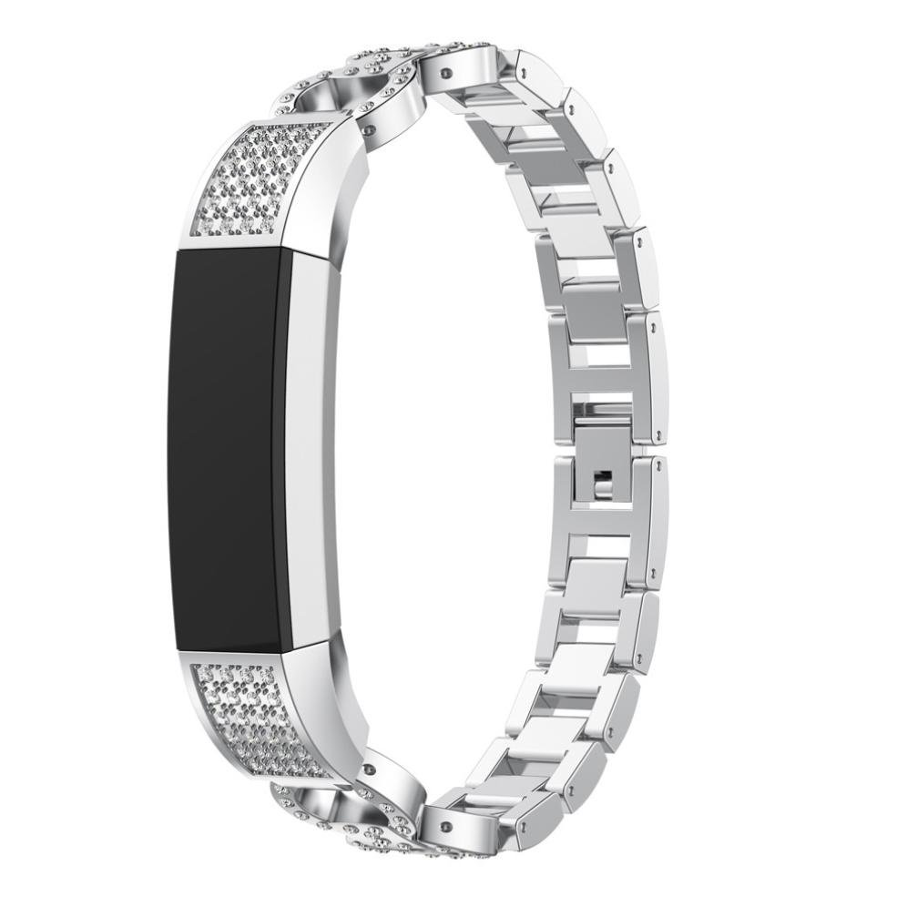 Goodtrade8 For Fitbit Alta HR Bands and Fitbit Alta Band, Gotd Luxury Alloy Crystal Strap Sport Replacement Watch Band Accessories Wristband Smartwatch, Large Small Women Men (Silver)