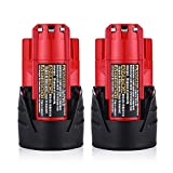 Topbatt M12 2.0Ah Battery for Milwaukee 12V Replacement Battery Pack Lithium Xc 48-11-2440 48-11-2402 Cordlees Tools 2Packs