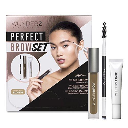 WUNDER2 PERFECT BROW SET- WunderBrow Eyebrow Gel, WunderCleanse & Dual Precision Brush, Blonde