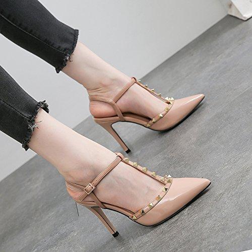 Xue con de hembra silvestres zapatos color Ranurado Qiqi Baotou cruda hebilla altos 47 fina pequeños remache sandalias punta fresca 4YFqA4Hr