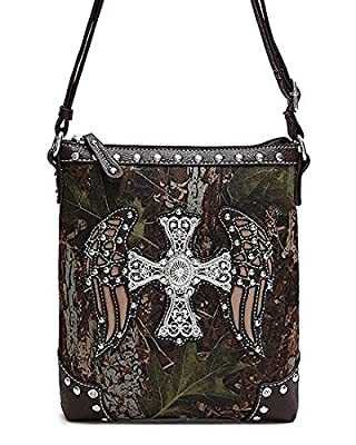 Brown Camo Wings and Cross Rhinestone Hipster Cross Body Purse