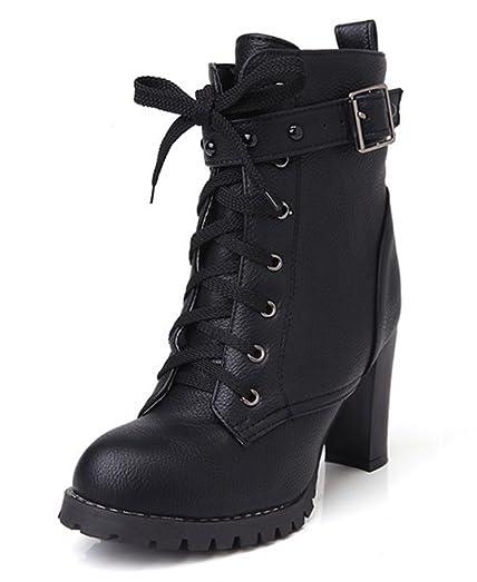 SHOWHOW Damen Blockabsatz Martin Boots Kurzschaft Stiefel Mit Schnürsenkel Beige 40 EU oK67xttTN