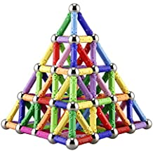 Elongdi 130 Pieces - Magnetic Building Sticks Building Blocks Set, Magnet Educational Toys Magnetic Blocks Sticks Stacking Toys Set, Non-Toxic Building Toy 3D Puzzle with Storage Bag