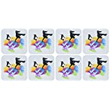 3dRose cst_158869_2 Blue Musical Note on a Multi Color Splash Grunge Background with Silhouettes of Hip Hop Dancers Soft Coasters, Set of 8