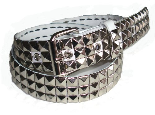 Belt Silver Studded - BeltsandStuds Goth Punk Silver Stud Studded White Snap on Belt L 36 Silver