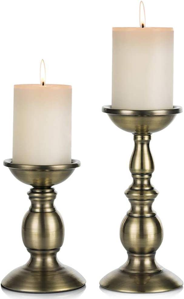 """Nuptio Bronze 2 Pcs Iron Pillar Candle Holders, Most Ideal for 3"""" Pillar Candles or Flameless Led Candles, Gifts for Wedding, Party, Home, Spa, Reiki, Votive Candle (S + L)"""