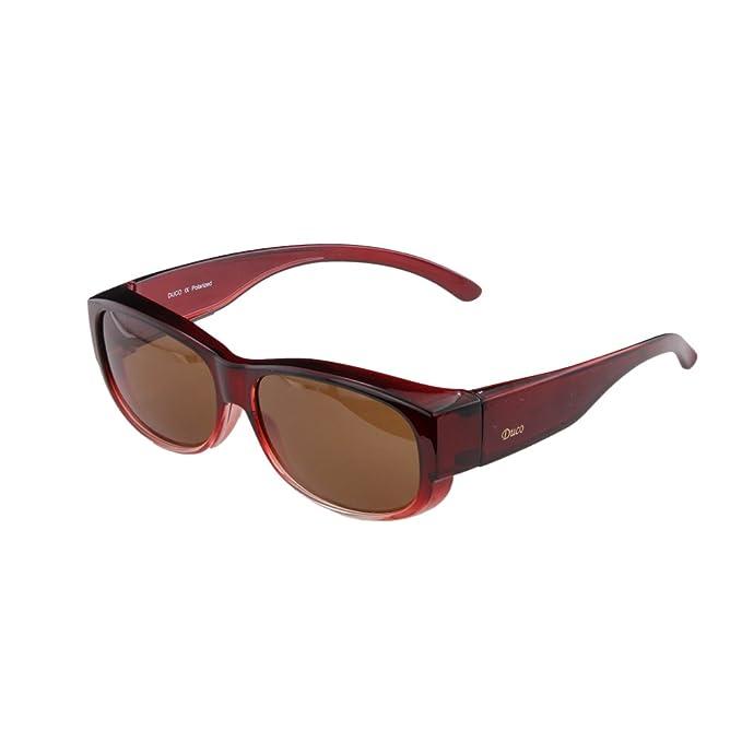 DUCO 8956 Gafas de Sol Polarizadas para usar con Anteojos Normales debajo Marco TR90 Marco Rojo