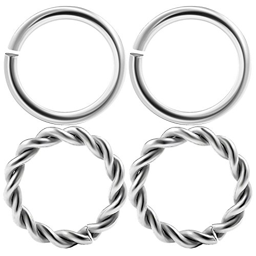 4pcs 16g Nose Hoop Rings Septum Cartilage High polished surgical seamless steel ring with a twisted wire design CNCK 6mm