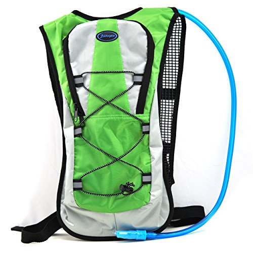 Hydration Pack With 2L Backpack BPA Free Water Bladder, Fits Men, Women, Youth and Kids, Used For Hiking, Running, Cycling, and Skiing - Green Color