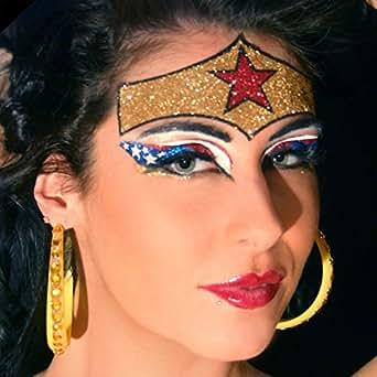 Summitfashions Wonderous brillo ojos maravilla mujer bandera americana maquillaje ojos xotic para hombre Talla única Multicolor