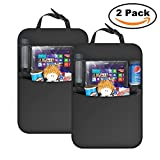 ONEISALL Car Seat Back Protector(2 Pack), Kick Mats Waterproof Car Back Seat Organizer with Storage Pocket for Baby Travel Accessories, Kid Food - Black