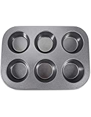 6 Cup Non Stick Carbon Steel Shallow Muffin Cake Baking Pan