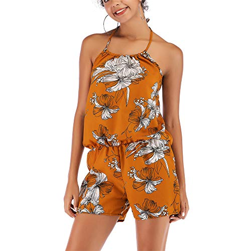 (KINGOL Women Fashion Off The Shoulder Strappy Printed Playsuit Party Club wear Jumpsuit)