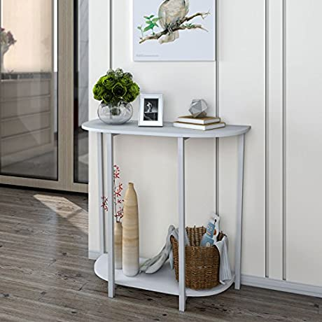 Lifewit Modern 2 Tier Console Table Entryway Table White