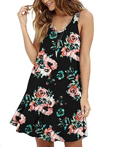 (MOLERANI Women's Summer Casual Sleeveless Floral Printed Swing Dress Sundress Black Red Flower XL)