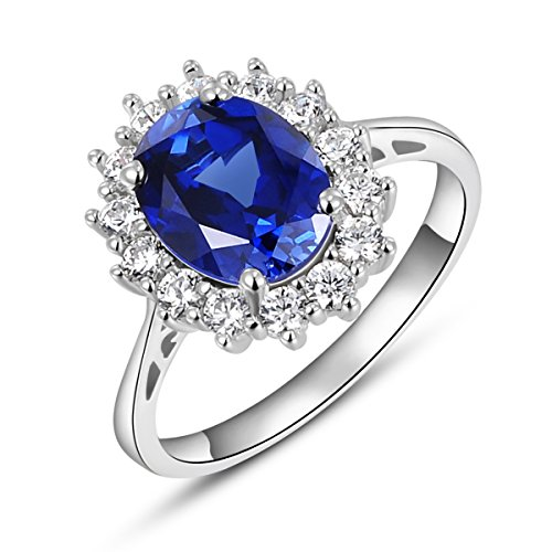 Newshe Created Blue Tanzanite Gemstone Statement Ring 2.5Ct Oval AAA Cz Topaz 925 Sterling Silver Size ()