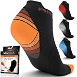 Compression Running Socks Men & Women - Best Low Cut No Show Athletic Socks for Stamina Circulation & Recovery - Durable Ankle Socks for Runners, Plantar Fasciitis & Cycling - 4 PAIRS ORNG BLK S/M