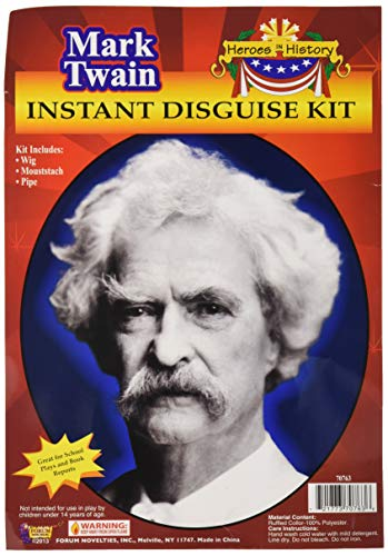Forum Novelties Men's Heroes In History Instant Disguise Kit Mark Twain, Multi, One Size