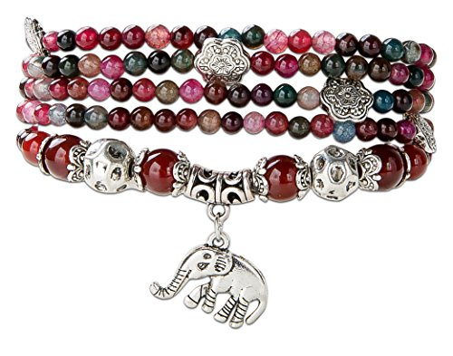 SPUNKYsoul Good Luck Elephant Natural Garnet & Agate Stretch Wrap Bracelet Mala ()