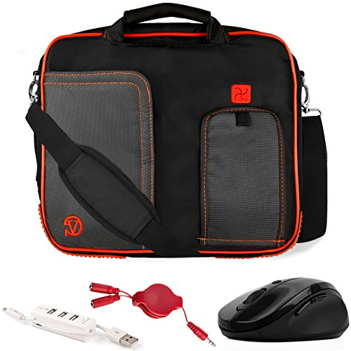 VanGoddy Pindar Red Trim Laptop Bag w/Accessories for Acer Aspire Series/One 10 / CloudBook/ChromeBook / Iconia 10