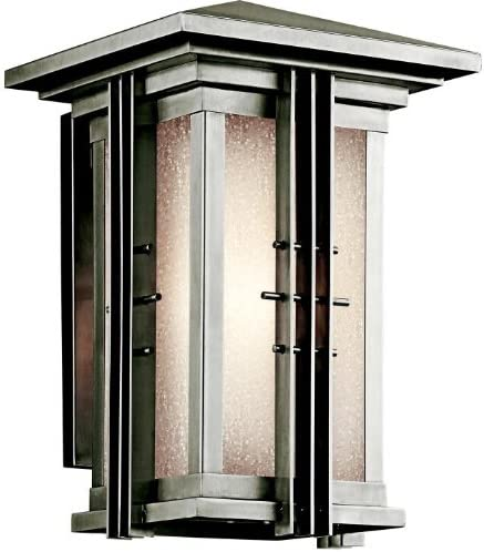 Kichler 49159SS Portman Square 1LT 14IN Exterior Wall Lantern, Stainless Steel Finish and Etched Seedy Glass