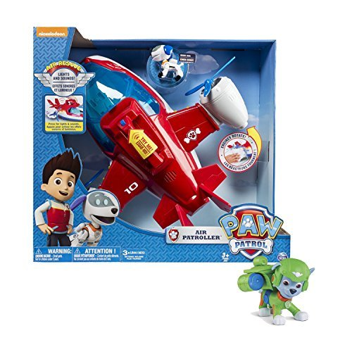 Maven Gifts: Paw Patrol, Lights and Sounds Air Patroller Plane with Paw Patrol, Air Rescue Rocky, Pup Pack & Badge