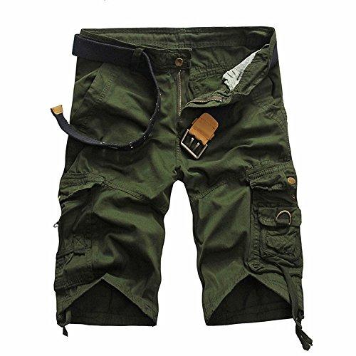 - HYIRI Men'st Slim-Fit Trouser Shorts Pants Army Green