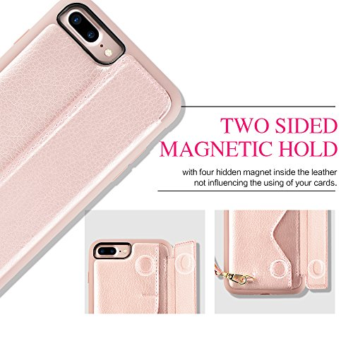 iPhone 7 Plus Wallet Case, iPhone 8 Plus Card Holder Case, ZVEdeng Shockproof Leather Wallet Case with Credit Card Slot Holder for Apple iPhone 7 PLUS/iPhone 8 Plus - Rose Gold by ZVEdeng (Image #6)