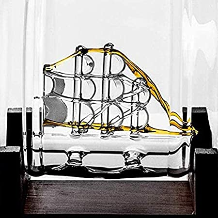 ZSWB Decantador de Whisky escocés Reutilizable, decantadores de Casas 1000ml Decantador de Vino Blanco con 2 Copa de Vino y Grifo de Acero Inoxidable 3.10 (Color : Transparent, Size : 1000ML)