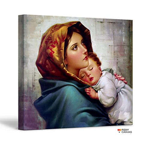 - FoxyCanvas Mother Mary with Young Jesus Christ Virgin Mary with Child Jesus Christian Giclee Canvas Print Stretched and Framed Wall Art for Home and Office Decorations 16x16 inch