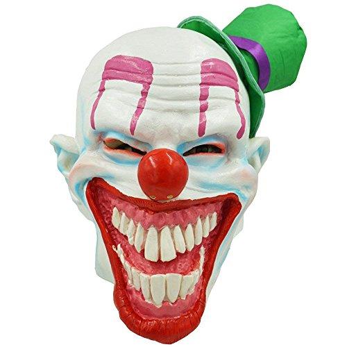Dhakar Scary Clown Mask Joker Cosplay Costume Latex Mask (green) -