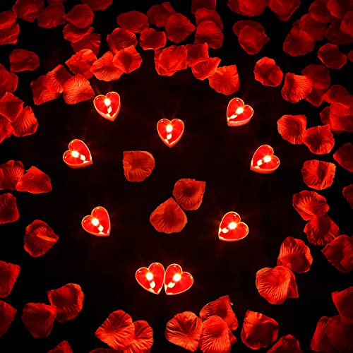 9 Packs Heart Shape Candles Romantic Love Candle Tealight Candles with 200 Pieces Silk Rose Petals Girl Scatter Petals for Wedding Valentine